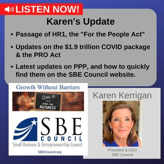 Passage of H.R.1; the PRO Act; the $1.9 trillion COVID package; SBECouncil.org highlighting all PPP changes.