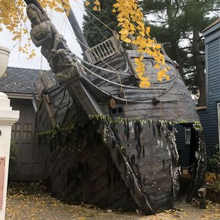Marblehead Halloween Display Includes Replica Ghost Ship