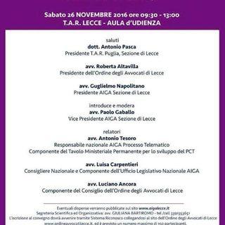 SPECIALE PAT – Convegno AIGA – Lecce del 26 novembre 2016 PRIMA PARTE