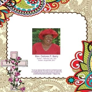 Rev Delores Berry - Memorial Thoughts and Prayer  8-9-17