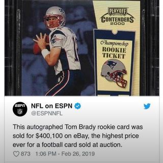 Tom Brady Rookie Card Auctions For Record Amount