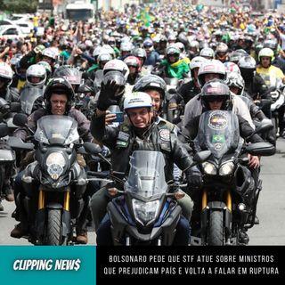 Bolsonaro pede que STF atue sobre ministros que prejudicam país e volta a falar em ruptura