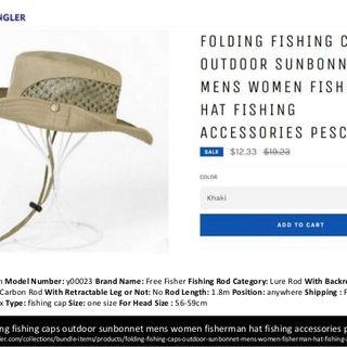 ultra angler folding fishing caps hats for men women