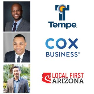 COLLABORATIVE CONNECTIONS City of Tempe Mayor Corey Woods Thomas Barr with Local First Arizona and Jihan Cottrell with Cox Business