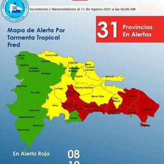 31 provincias en aleta por la llegada de la tormenta Fred a RD