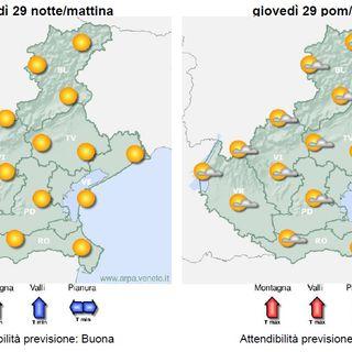 Previsioni meteo 27-30 luglio: spazi di sereno alternati a fasi nuvolose
