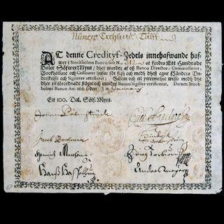 Palsmtruchers, los primeros billetes modernos