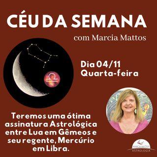 Céu da Semana - Quarta, dia 04/11: Teremos uma ótima assinatura Astrológica entre Lua em Gêmeos e seu regente Mercúrio em Libra.