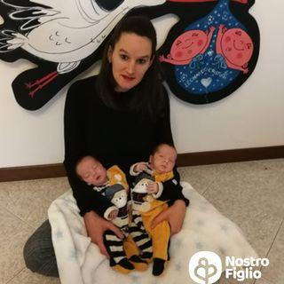 Elisa e i suoi gemellini Cristian e Leonardo, nati prematuri