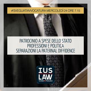 PATROCINIO |  SPESE DELLO STATO | PROFESSIONI E POLITICA |SEPARAZIONI|PATERNALDIFFIDENCE - Mercoledì 24 Gennaio 2018 #Svegliatiavvocatura
