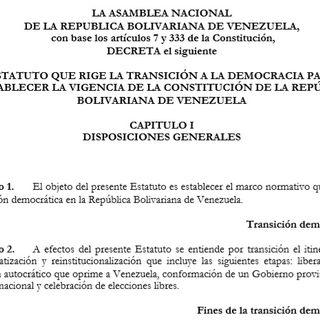 Audio del Proyecto del Estatuto que rige la Transición a la Democracia para Restablecer la Vigencia de la Constitucion