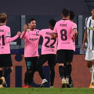 La Juve di Pirlo cade sotto i colpi del Barcellona. Lazio: pari prezioso in Belgio