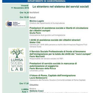 Lo Straniero nel Sistema dei Servizi Sociali - Università LUMSA, 11 Novembre 2016