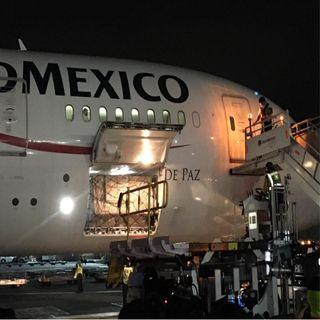 Arriba noveno vuelo con insumos médicos