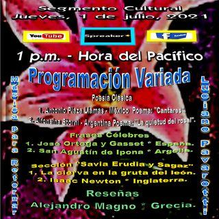 Programación Cultural y Literaria Variada - Interpretaciones musicales con Luciano Pavarotti * Italia