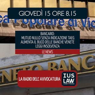 BANCARIO: INDICAZIONE TAEG | MUTUO NULLO | BUCO BANCHE VENETE | PROCEDURE INSOLVENZA  - Giovedì 15 Marzo 2018  #Svegliatiavvocatura