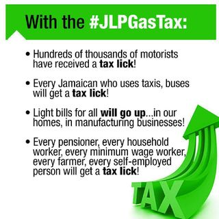 #taxperity Enough Is Enough!! JLP Robbing The Poor To Feed The Rich. Fuel Tax Is Also Consumption Tax. The Poor Will Be Burdened