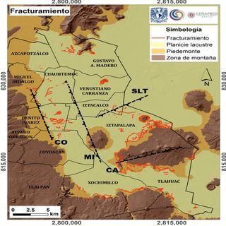 Mapa sobre fracturas en el suelo para la reconstrucción de la CDMX