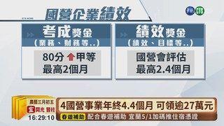 17:14 4國營事業自評考績甲等 年終4.4個月! ( 2019-04-09 )