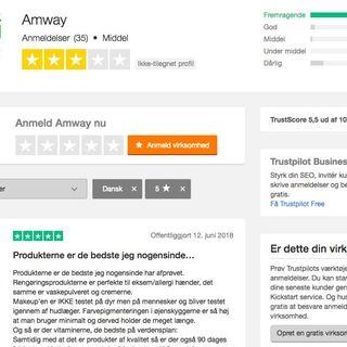 Trustpilot anmeldelser af Amway