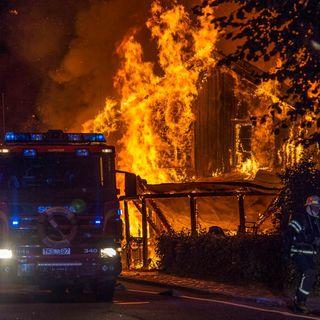 Branden på Elsa Andersons konditori i Norberg