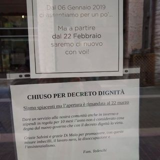 """Pasticceria sul Garda chiude per """"Decreto Dignità"""""""