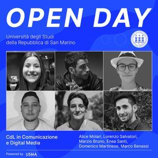 Open Day 2021 - Comunicazione e Digital Media Triennale - Alice, Lorenzo, Marzio, Enea, Domenico e Marco