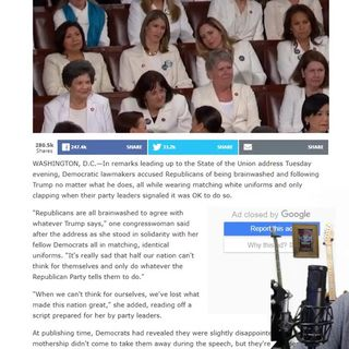 'Republicans Are Brainwashed,' Democrats Dutifully Chant While Clad In Identical White Uniforms!