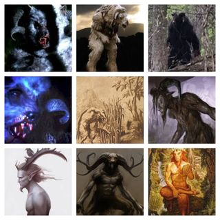 A Collection Of Humanoid Creatures With Horns. Pan or Sheepsquatch or Goatman?