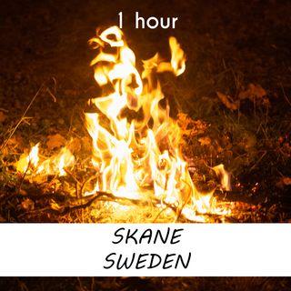 Skåne, Sweden | 1 hour CAMPFIRE Sound Podcast | White Noise | ASMR sounds for deep Sleep | Relax | Meditation | Colicky