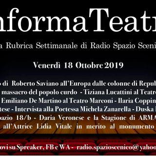 L'InformaTeatro del 18 Ottobre 2019