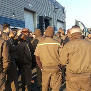 UPS Drivers Demonstrate Against 70-Hour Work Week