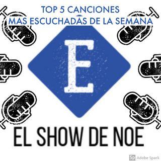 TOP 5 CANCIONES MAS ESCUCHADAS DE LA SEMANA