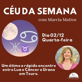 Céu da Semana - Quarta-feira, dia 02/12: Um ótimo e rápido encontro entre Lua e Câncer e Urano em Touro.