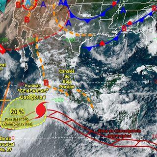 Genevieve es huracán categoría 1 y provocará fuertes lluvias en varios estados del país