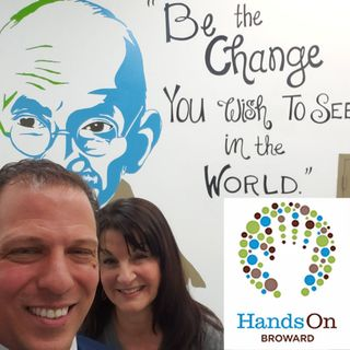 Laughing and learning about Hands on Broward with President/CEO Dale Mandell