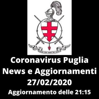 CORONAVIRUS PUGLIA - 27/02/2020 Aggiornamento - Ulteriori Casi in Puglia Molfetta e Torricella (TA)