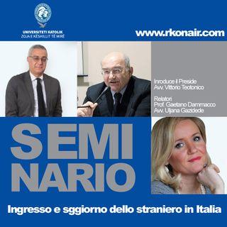 Ingresso e soggiorno dello straniero in Italia - UNIZKM - 05/05/2021
