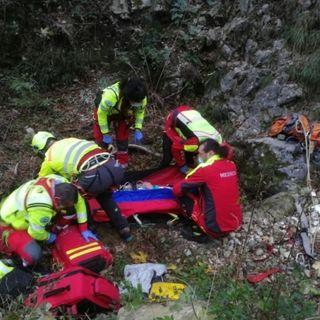 Grave climber precipitato per dieci metri dalla parete di roccia in valle Santa Felicita