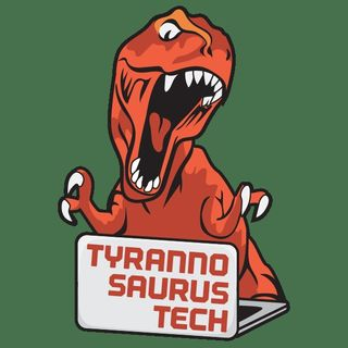 Richard Simms with Tyrannosaurus Tech