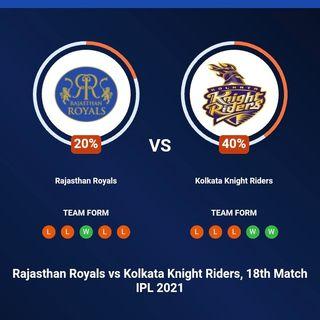 Rajasthan Royals vs Kolkata Knight Riders, 18th Match IPL 2021