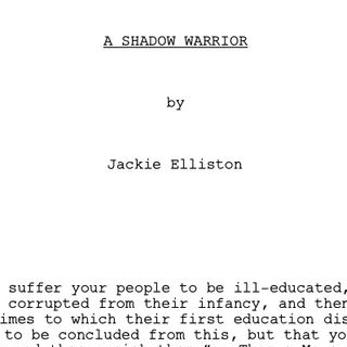 A SHADOW WARRIOR by Jackie Elliston (PART 1 of 3)