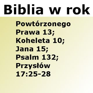 166 - Powtórzonego Prawa 13, Koheleta 10, Jana 15, Psalm 132, Przysłów 17:25-28