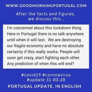 Covid19 Coronavirus Update 31-03-20 (For Portugal, in English)
