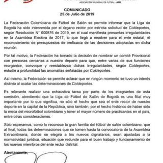 Intervenida la Liga de Futbol de Salon de Bogota