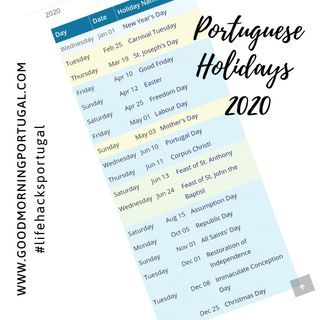 Portuguese Public Holidays in 2020