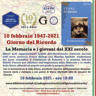 L'ACBLL presenta 10 febbraio 1947-2021  Giorno del Ricordo | La Memoria e i giovani del XXI secolo