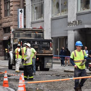 Water Main Bursts On State Street In Downtown Boston