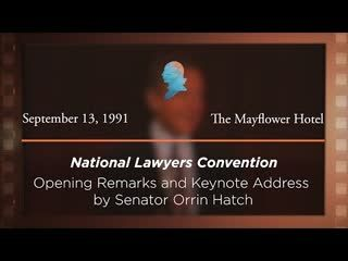 Opening Remarks and Keynote Address by Senator Orrin Hatch [Archive Collection]