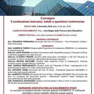 Podcast de La Pagina Giuridica - Contenzioso bancario: tutele e questioni controverse – Pisa, 6 dicembre 2019